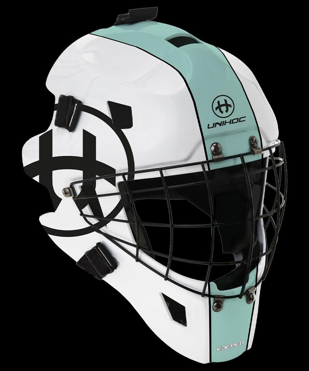 unihoc Masque de gardien de but Keeper 44 turquoise/blanc