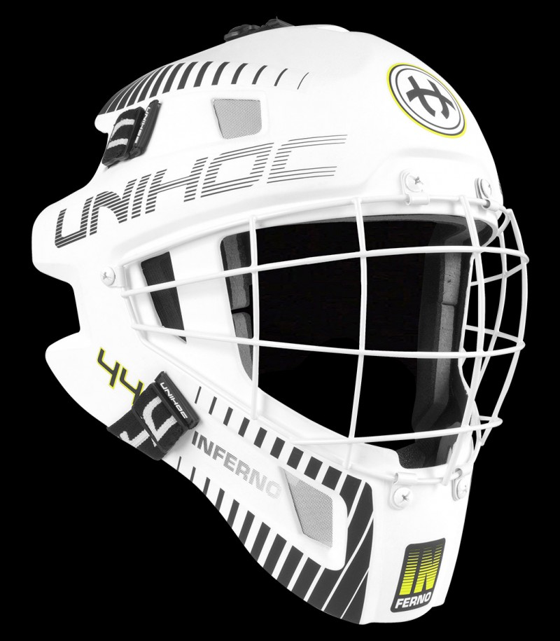 unihoc Masque de gardien de but Feather 44 blanc/rouge néon