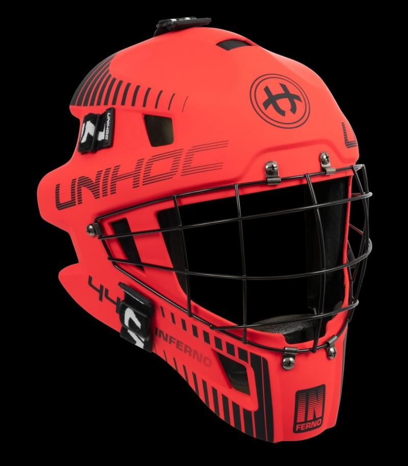 unihoc Masque de gardien Inferno 44 rouge néon/noir
