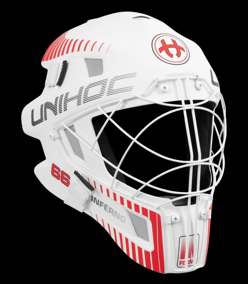 unihoc Masque de gardien Inferno 66 blanc/rouge néon