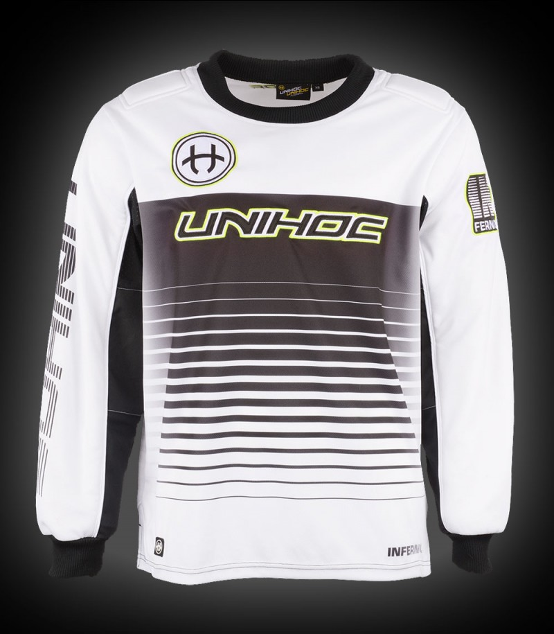 unihoc Goalietop Inferno Junior blanc/noir