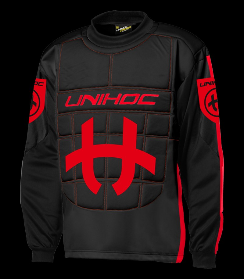 unihoc Pull-over de gardien Shield Senior noir/rouge