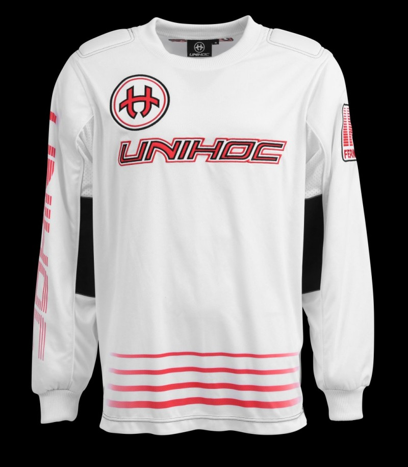 unihoc Goalietop Inferno Junior blanc/rouge néon