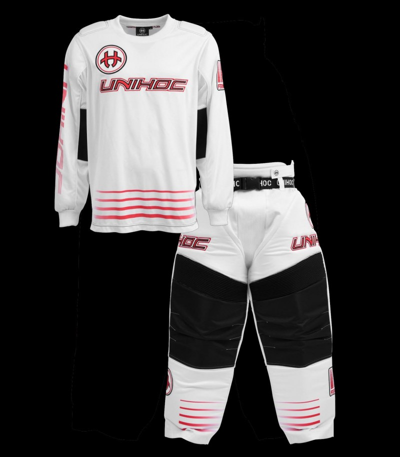 unihoc Goalieset Inferno Junior blanc/rouge néon
