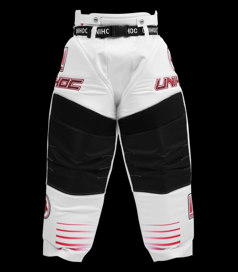 unihoc Pantalon de gardien Inferno Senior blanc/rouge néon