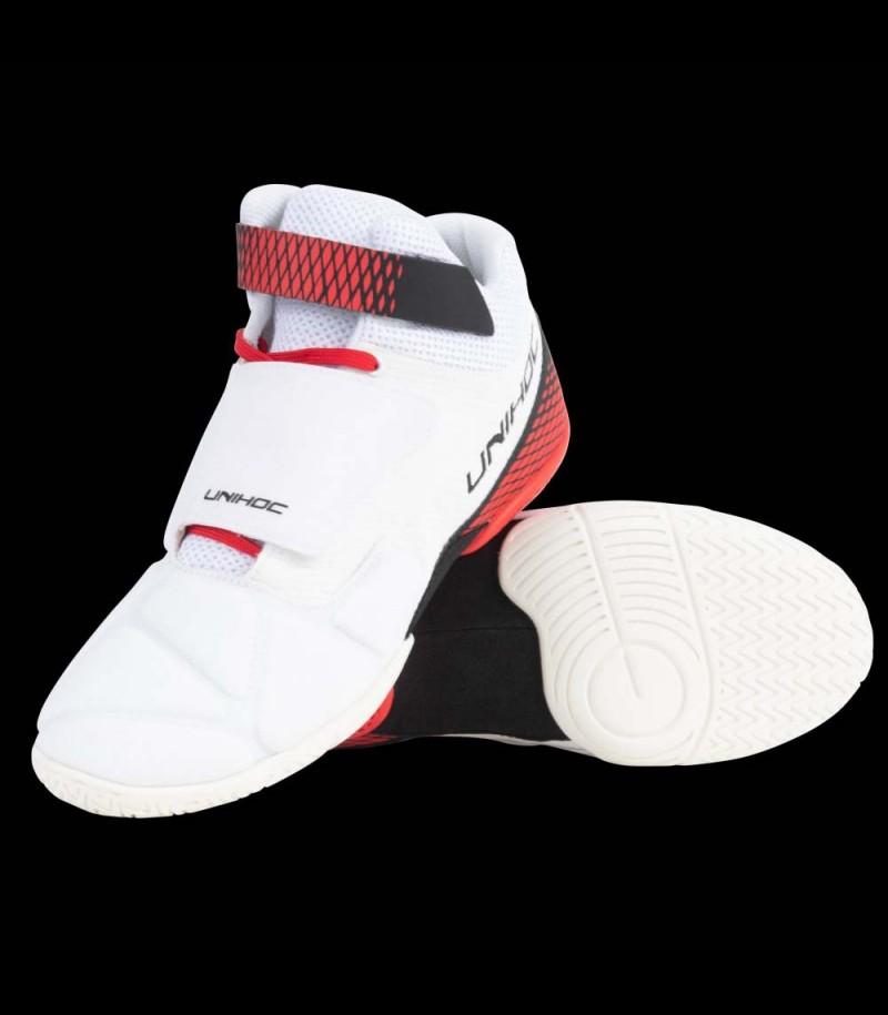 unihoc U4 chaussure de gardien blanc/rouge