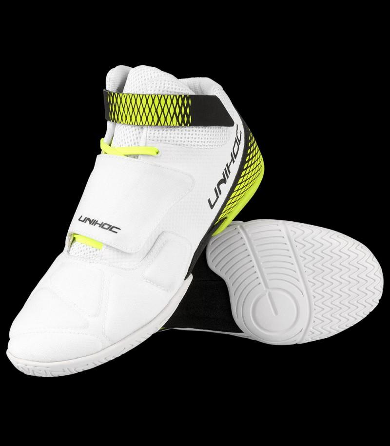 unihoc U4 chaussure de gardien blanc/jaune néon