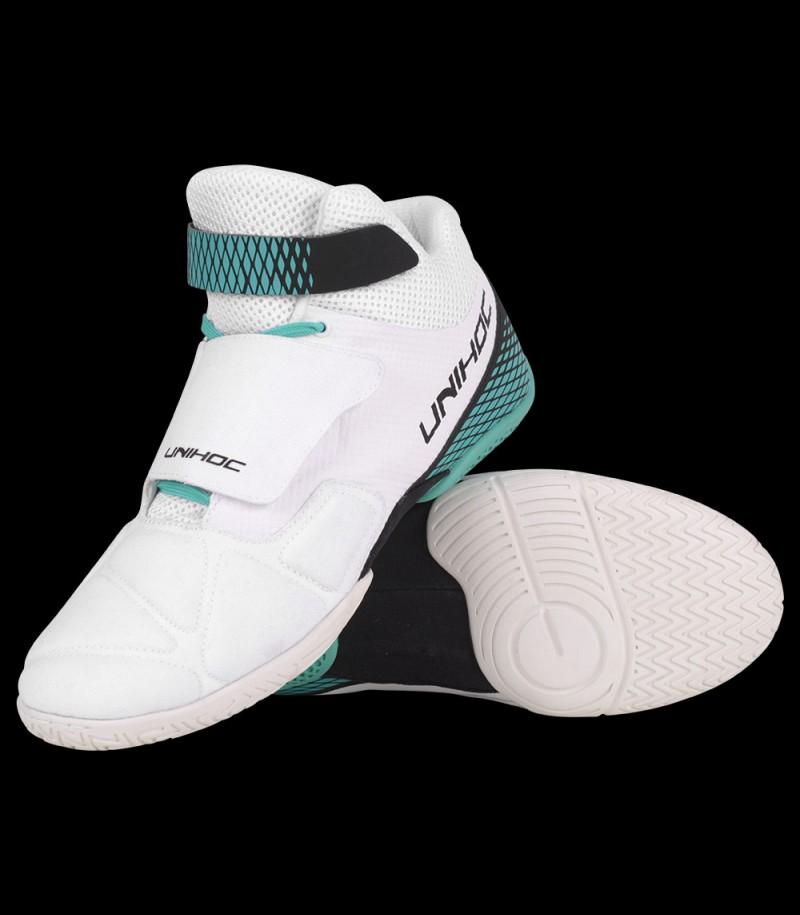 unihoc U4 chaussure de gardien blanc/tourquise