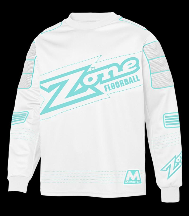 unihockeyshop_Zone pull-over de gardien Monster blanc/turquoise