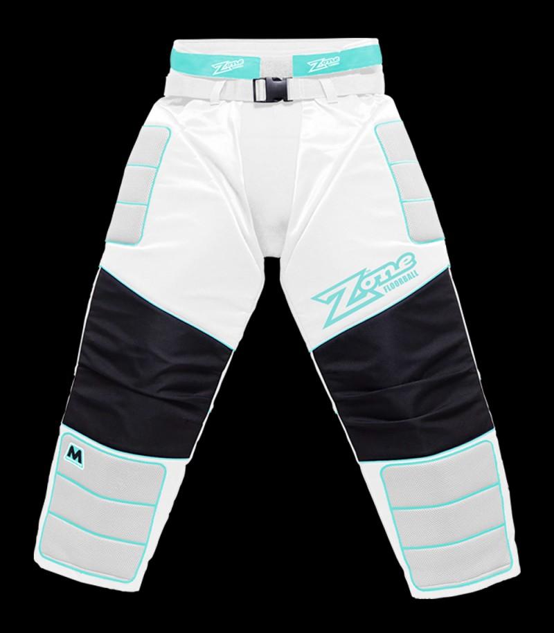 unihockeyshop_Zone Pantalon de gardien Monster blanc/turquoise