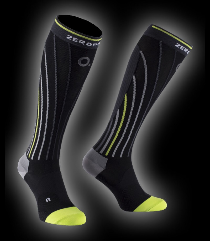 Zero Point Pro Racing Compression Socks Men black/lime