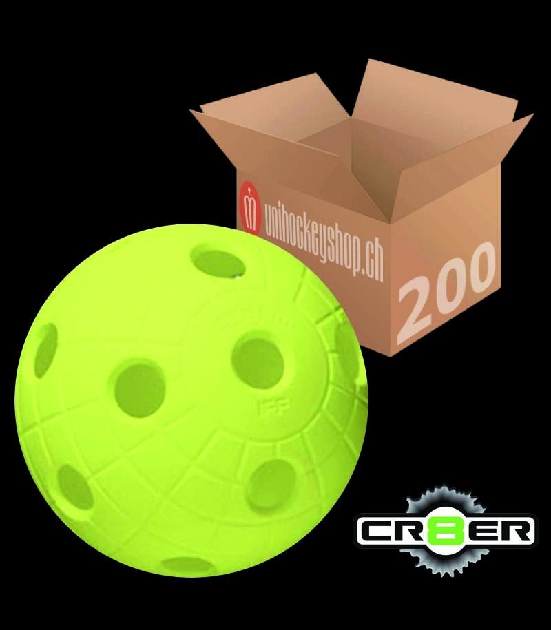 unihoc Balle de match CR8ER jaune néon (Lot de 200)