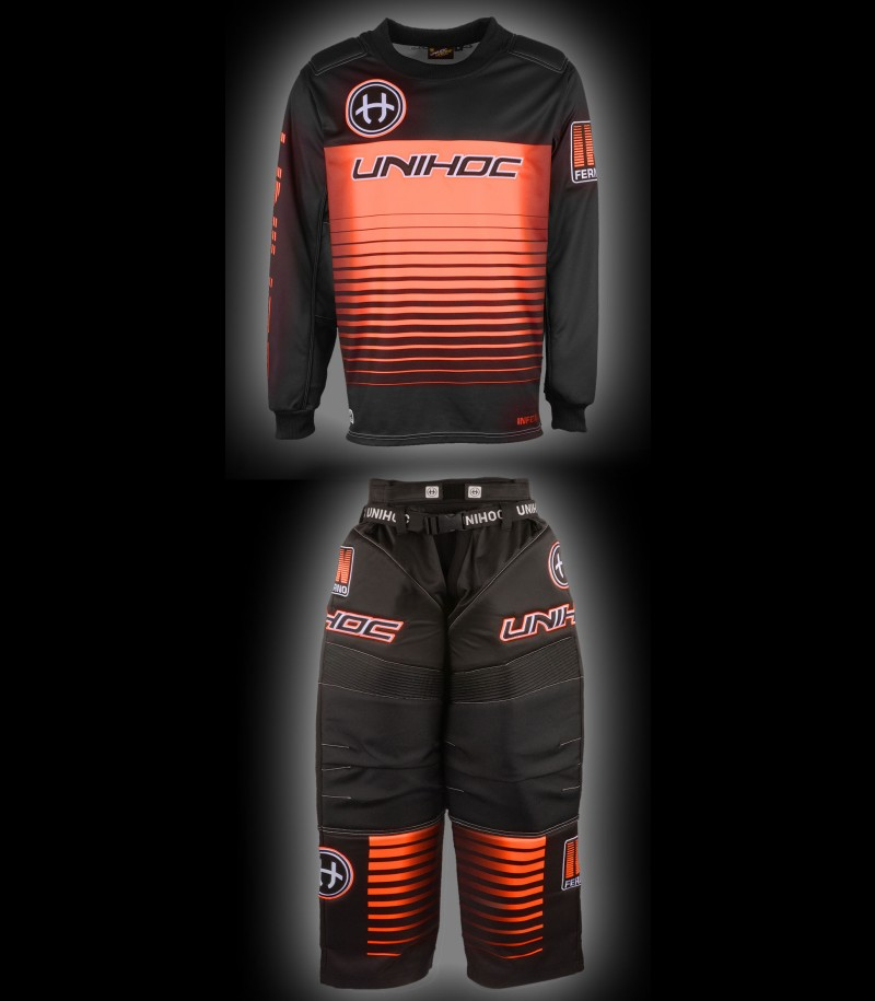 unihoc Goalieset Inferno Senior noir/orange