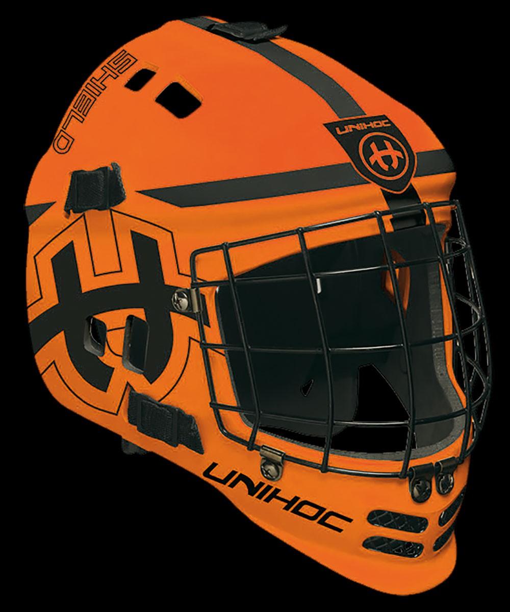 unihoc Torhütermaske Shield orange/schwarz