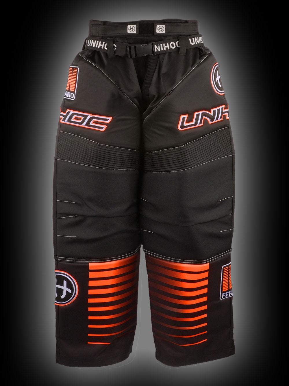 unihoc Goaliehose Inferno Senior schwarz/neon orange