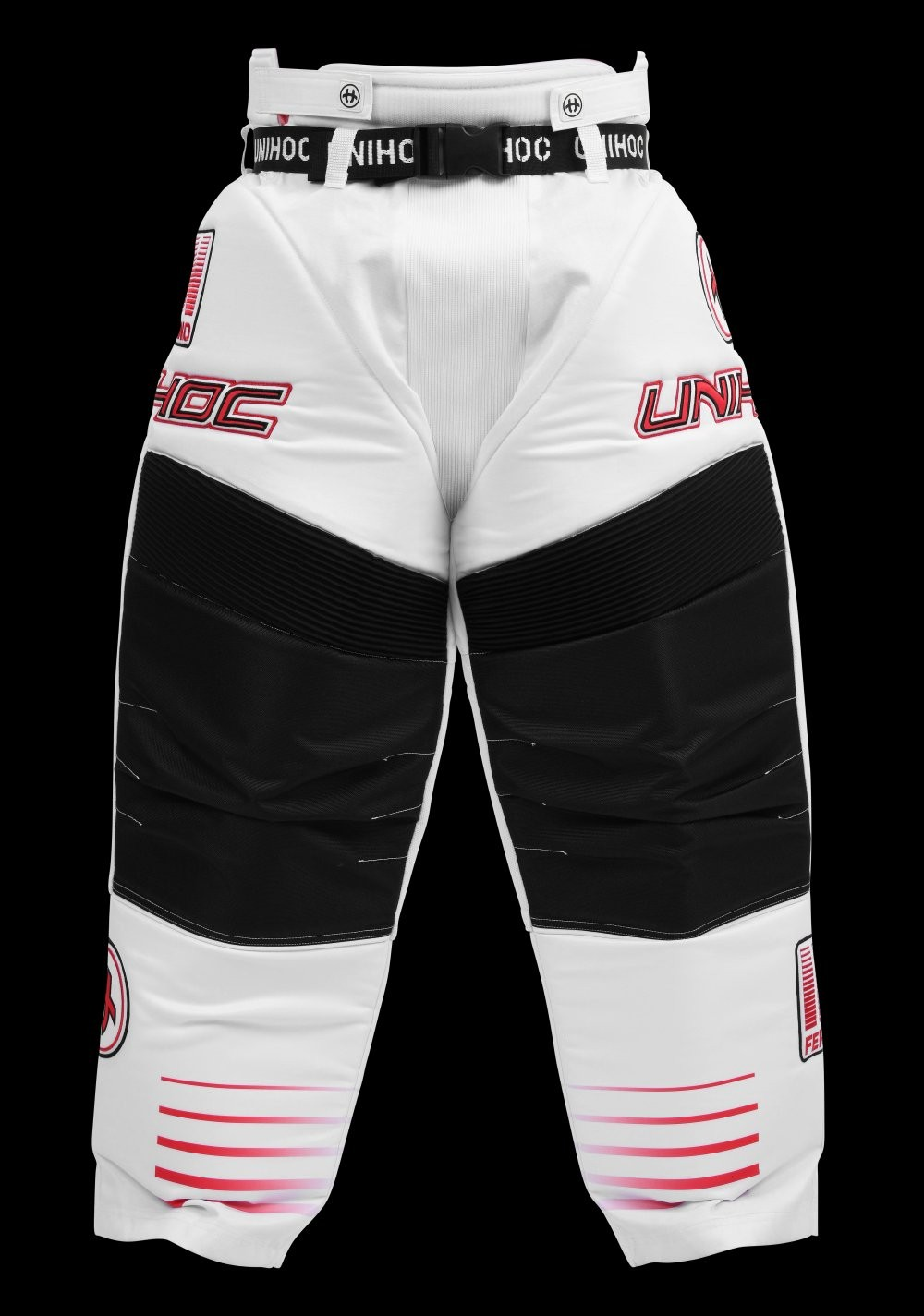 unihoc Goaliehose Inferno Senior weiss/neon rot