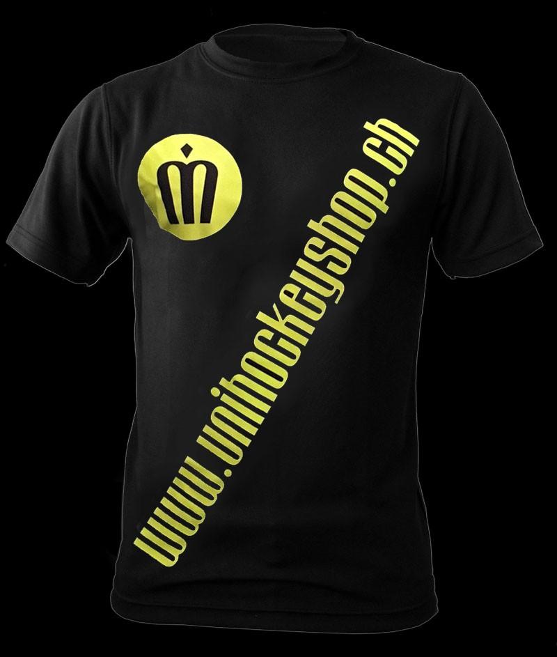 unihockeyshop.ch T-Shirt Badge Promo black-neon yellow