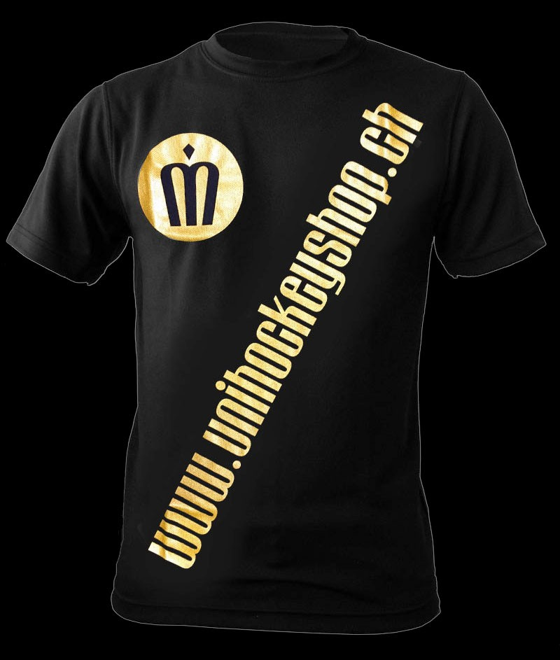 unihockeyshop.ch T-Shirt Badge Promo schwarz-gold