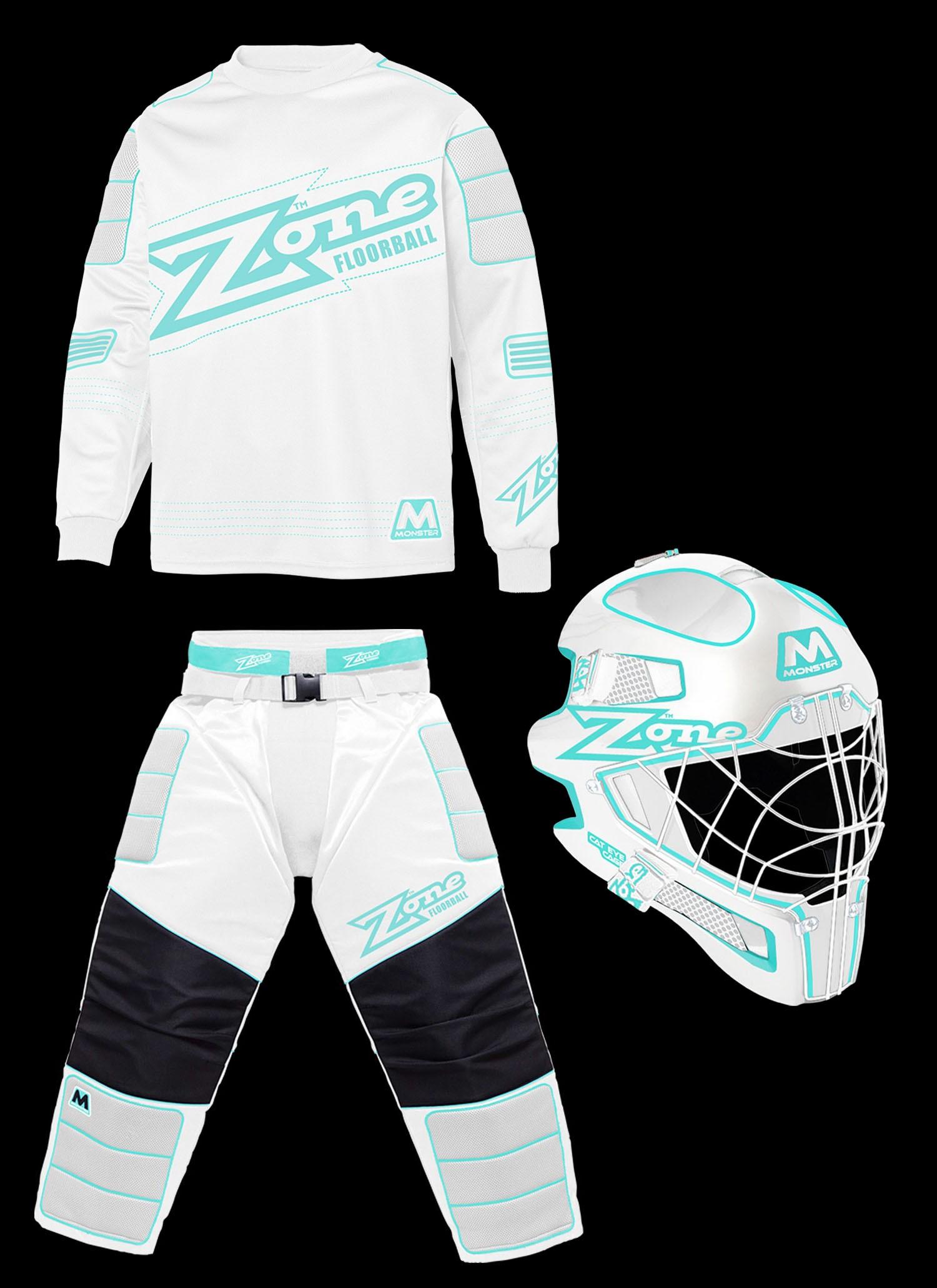 Zone Goalieset Monster white/turquoise