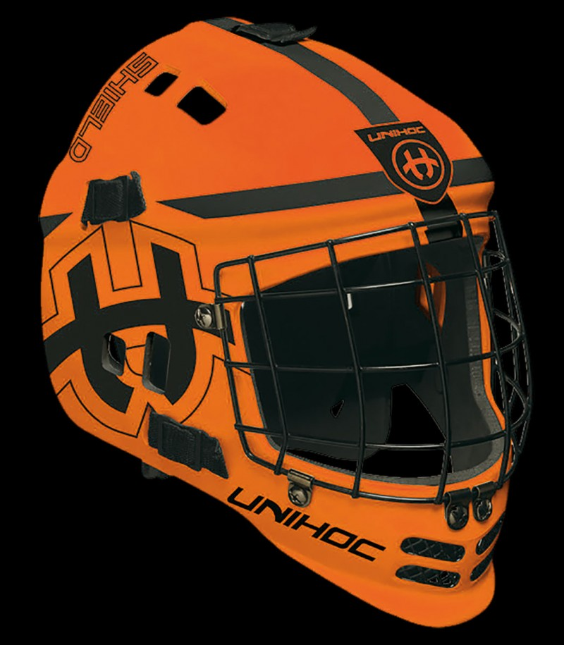 unihoc Torhütermaske Shield orange/schwarz