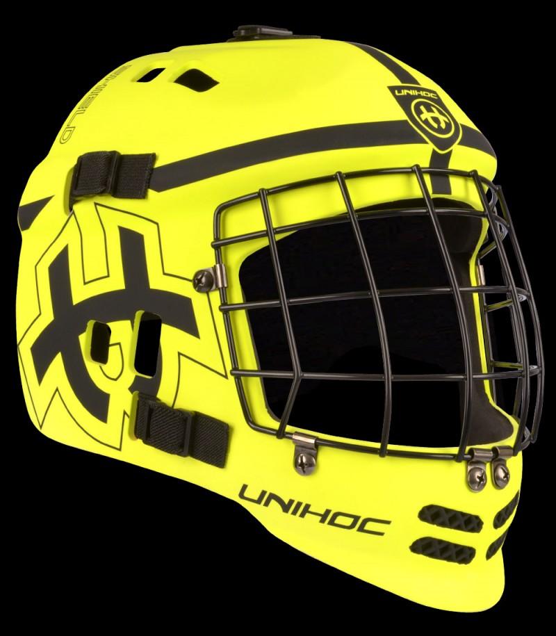 unihoc Torhütermaske Shield neon gelb/schwarz