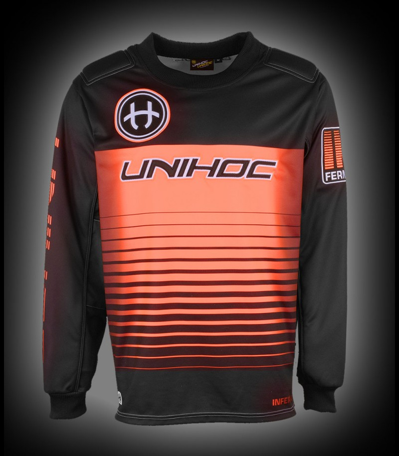 unihoc Goaliepullover Inferno Senior schwarz/neon orange
