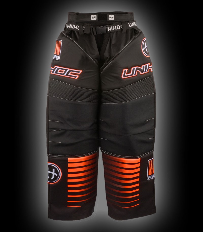 unihoc Goaliehose Inferno Senior schwarz/neon orange