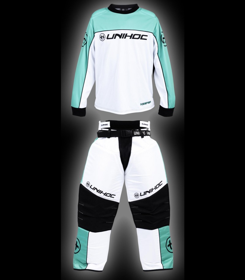 unihoc Goalieset Keeper Junior türkis/weiss
