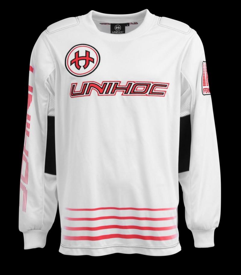 unihoc Goaliepullover Inferno Senior weiss/neon rot