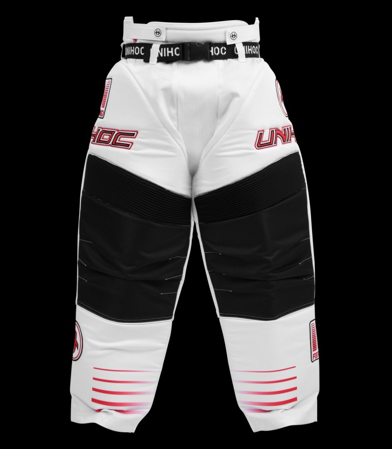 unihoc Goaliehose Inferno Junior weiss/neon rot