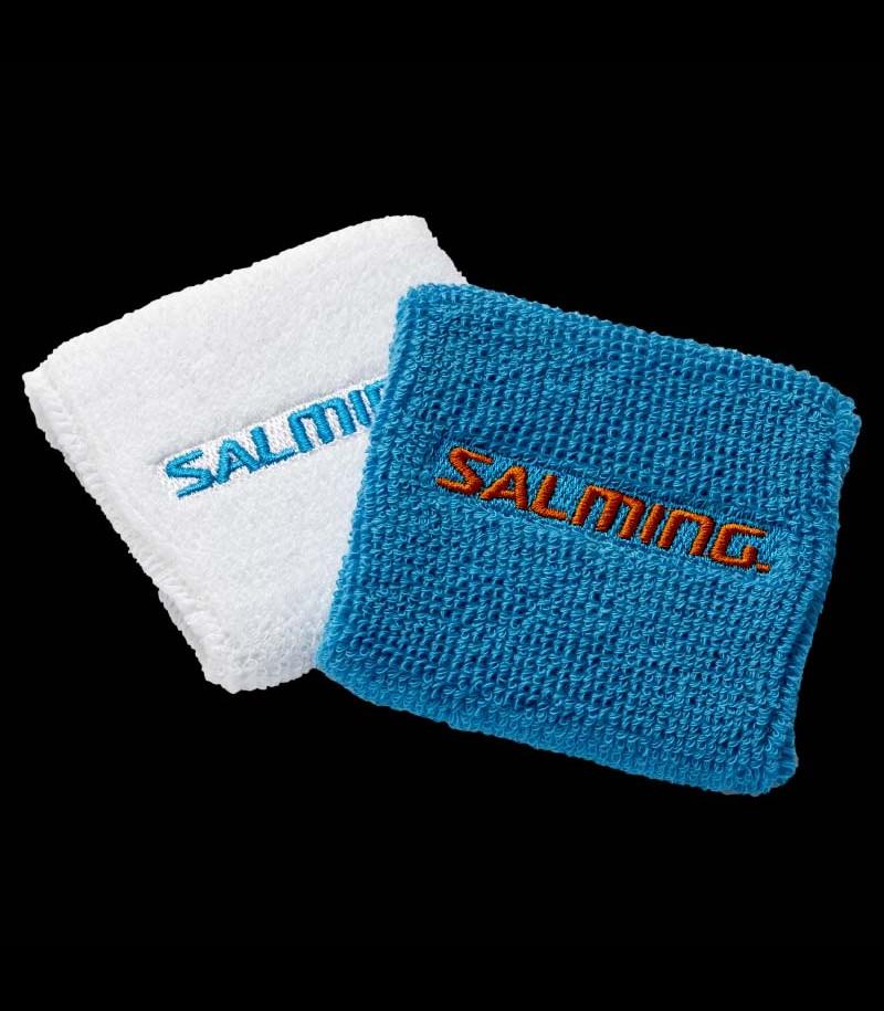 Salming Wristband Short white/cyan blue (2-Pack)