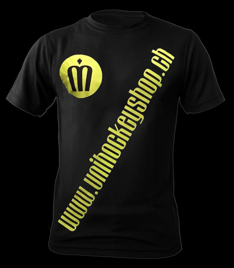 unihockeyshop.ch T-Shirt Badge Promo black-neon yellow
